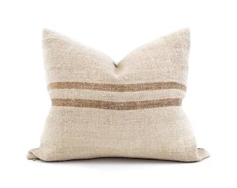 "17""×20"" caramel stripe grainsack pillow cover"