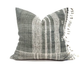 """20"""" fringe on side hunter green Indian wool pillow cover"""