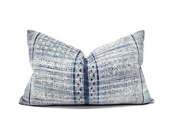 "15""×24"" Hmong indigo batik linen XL lumbar pillow cover"