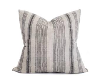"22"" black stripe hmong hemp pillow cover"