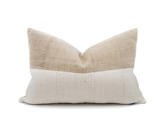 """14""""×21"""" beige Chinese fireweed hemp Asian textile+ cream mudcloth pillow cover"""