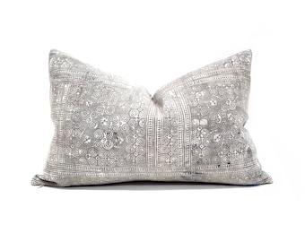 "13""×20"" grey hmong batik hemp linen pillow cover"