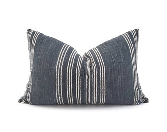 "Hmong pillow cover, 14""×22"" ink stripe Asian textile cotton pillow, stripe pillow"