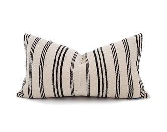 "11""×20"" cream stripe Asian textile cotton pillow cover"