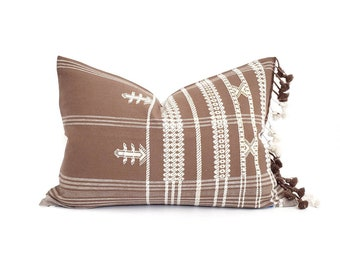 """14""""×20"""" tassels on side brick Indian cotton embroidered pillow cover"""
