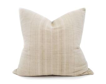 "22"" vanilla stripe hmong hemp pillow cover"