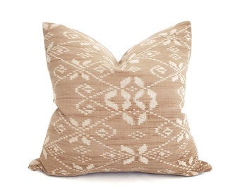 """19"""" faded rust Indonesian ikat pillow cover"""