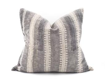 "20""×21"" charcoal bone print hmong batik hemp linen pillow cover"
