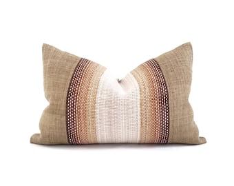 """14""""×22"""" wool variegated stripe center + camel hemp linen pillow cover"""