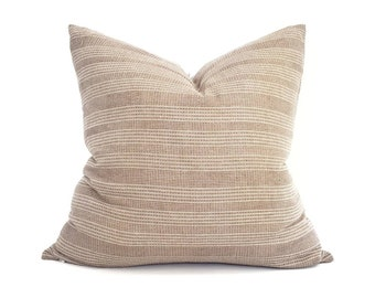 Various sizes taupe stitched stripe cotton pillow cover