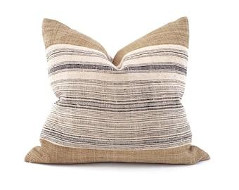 """20""""×21.5"""" camel hemp linen+ Hmong charcoal stripe pillow cover"""
