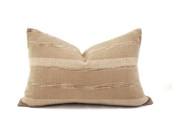 "13""×20"" tan textured stripe cotton pillow cover"