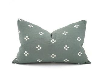 "Hmong pillow, 13""×20"" muted dark sage motif cotton pillow cover"