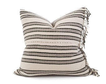 """21"""" fringe on side olive/cream stripe Asian textile cotton pillow cover"""