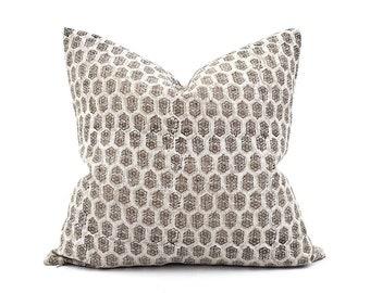 "18""- 24"" white small flower batik block printed linen pillow"