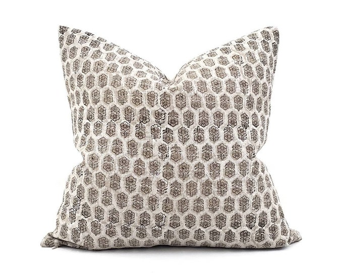 """Featured listing image: 18""""- 24"""" white small flower batik block printed linen pillow"""