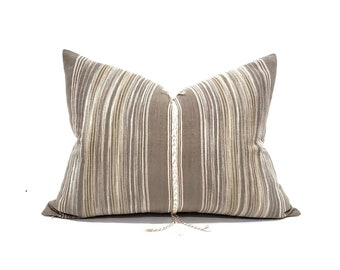 "19""×25"" cotton stripe embroidered tassel XL lumbar hmong pillow cover"