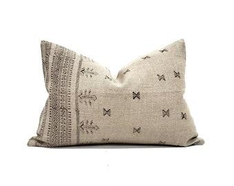 "14""×20"" black on flax block printed linen lumbar pillow cover"