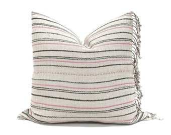 "20"" grey stripe Asian textile cotton pillow with fringe"