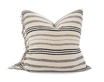 "22"" fringe on side cream stripe Asian textile cotton pillow cover"