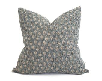 Swatch request, teal small flower batik block printed linen