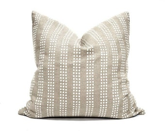 Various square sizes white on flax block printed linen pillow