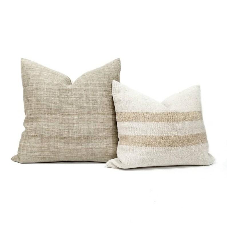 18 light khaki hemp linen Hmong pillow cover linen pillow Hmong pillow cover