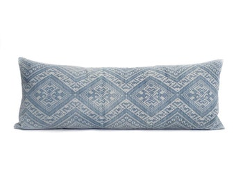"""13""""×35"""" faded blue Chinese wedding blanket bed pillow cover"""