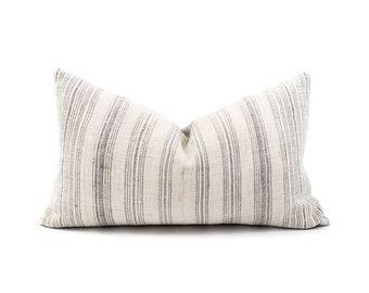 "13""×22"" grey stripe hmong hemp pillow cover"