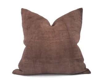 """20""""& 22"""" brownish rust hemp linen Hmong pillow cover"""