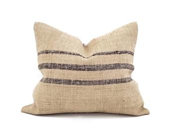 "17""×20"" brown stripe grainsack pillow cover"