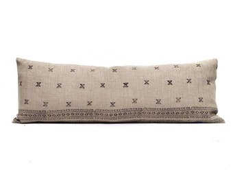 """13""""×35"""" black block print on flax linen bed pillow cover"""