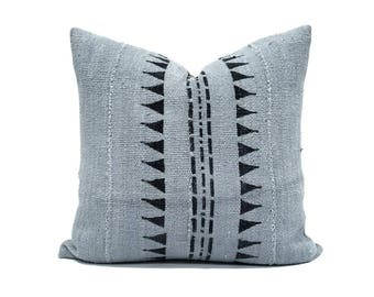 """Mudcloth pillow cover, 18"""" mudcloth pillow, african mudcloth pillow, Mudcloth, gray mudcloth pillow"""