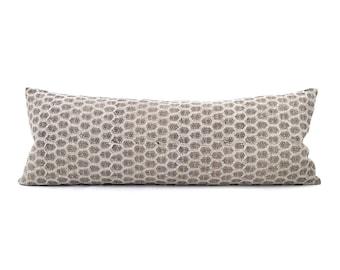 "13""×35"" white small flower batik block printed XL bed linen pillow"