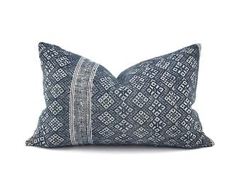 "14""×22"" indigo Chinese wedding blanket pillow cover"