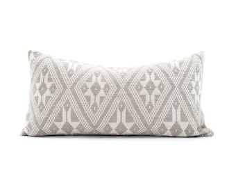 """13""""×26"""" Asian textile grey cotton ikat pillow cover"""