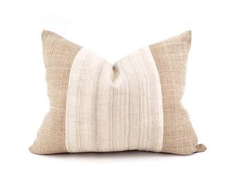 "16""×21"" vanilla/greige stripe+ sand hmong hemp pillow cover"