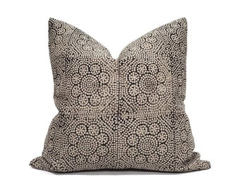 "18""- 24"" Black on flax flower batik block printed linen pillow cover"
