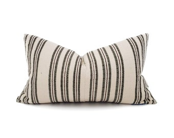 "12.75""×21.5"" olive/cream stripe Asian textile cotton pillow cover"