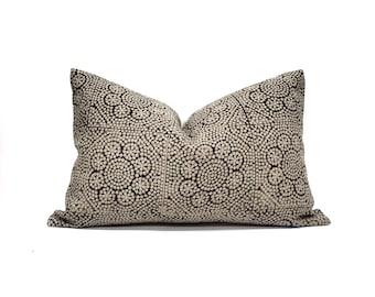 Various lumbar sizes black flower batik block printed on flax linen pillow cover