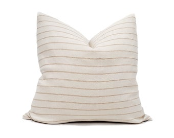 Various sizes tan stripe cotton Asian textile pillow cover