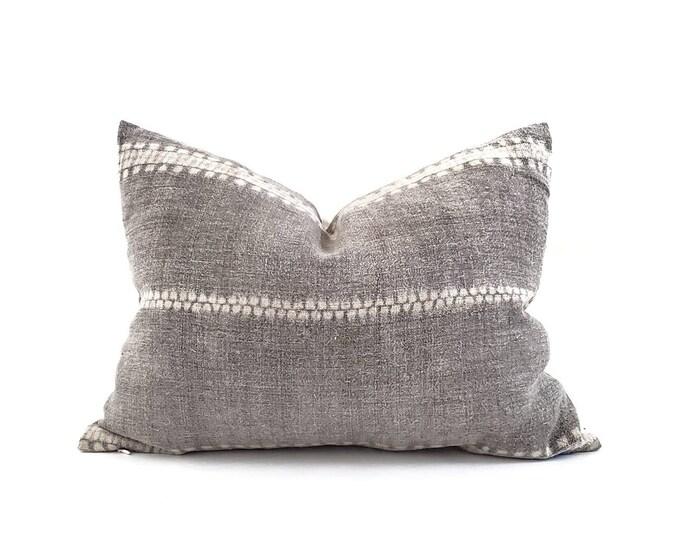 """Featured listing image: Hmong pillow, 15""""×20"""" charcoal bone print hmong batik hemp linen pillow, linen stripe pillow"""