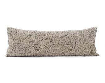"13""×35"" black batik block printed on flax linen XL bed pillow cover"