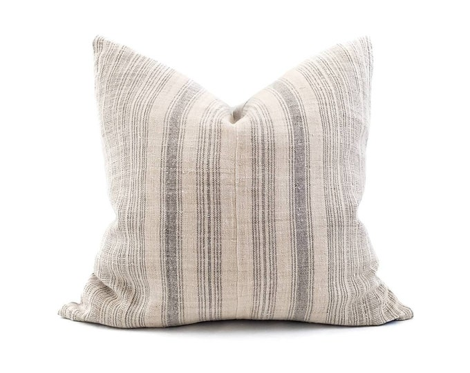 """Featured listing image: 20""""×21"""" grey stripe hmong hemp pillow cover"""