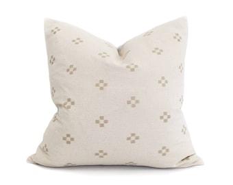 """18""""-24"""" cream/sand motif hmong cotton pillow cover"""