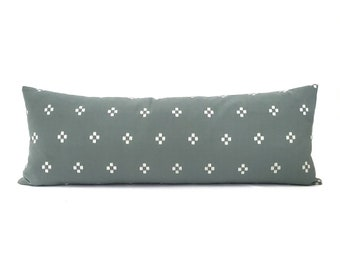 """13""""×35"""" XL lumbar muted sage green cotton bed pillow cover"""
