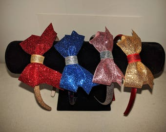 Holiday glitter headband, Christmas and hanukkah hair bows headbands, girls headbands available in red, gold, blue and rose.