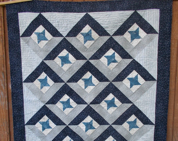 Union a patchwork star quilt set on point, easy, man quilt pattern