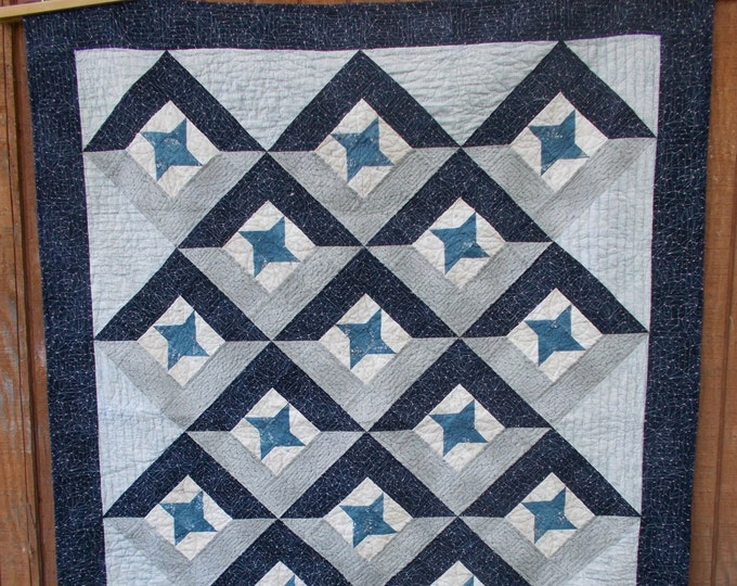 Union a star quilt set on point, easy, man quilt, pdf pattern