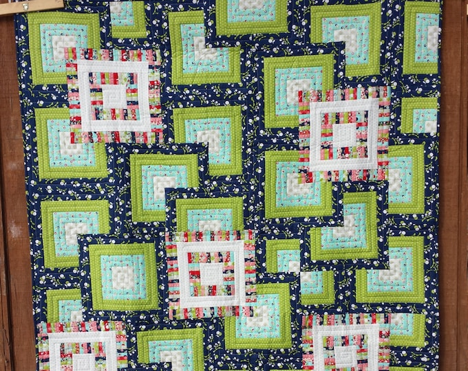 Moving Boxes a patchwork, quarter log cabin, easy quilt pattern